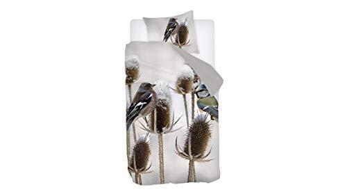 Snoozing Bluebird - Juego de Cama (satén de algodón) 140x200/220 cm Gris