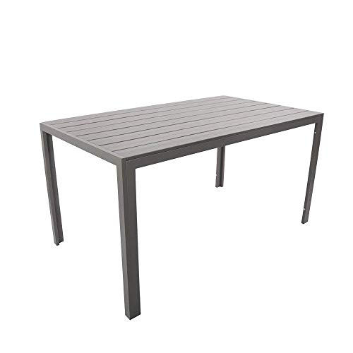 Dporticus Outdoor Patio 55' Rectangular Dining Table Aluminum Frame with Grey Wood Look