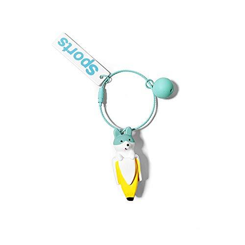 Llavero creativo lindo del coche de la mochila del teléfono móvil de la mujer del perro de plátano colgante regalo verde