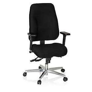 hjh OFFICE 702304 Silla de Oficina Zenit Comfort Tejido Negro Silla ejecutiva ergonómica Respaldo Ajustable