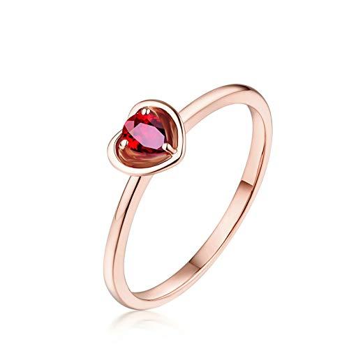 Daesar Anello Donna Matrimonio Oro Rosa 18K 0.45ct A Forma di Cuore con Rubino Rosso Pera Anello Donna Misura 12