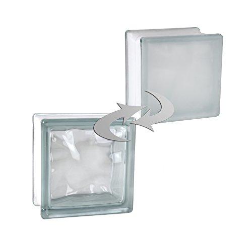 5 piezas FUCHS bloques de vidrio nube blanco satinado por un lado (vidrio mate) 14,5x14,5x8 cm