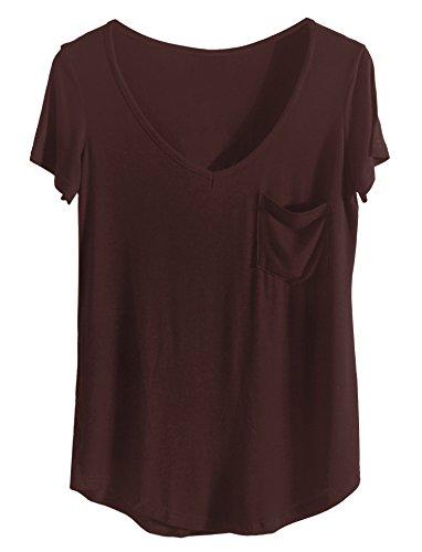 iClosam Blusas De Mujer Elegantes De Verano Casual Color SóLido Camiseta Mujers Manga Corta Shirt Tops