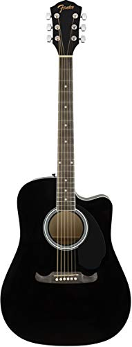 Fender FA-125CE Dreadnought Cutaway Acoustic-Electric Guitar - Black