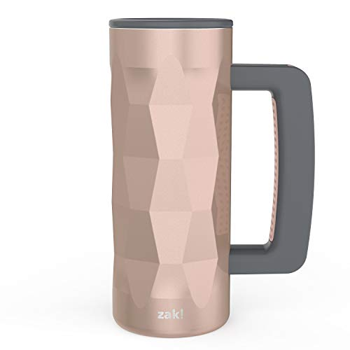 Zak Designs Fractal 16oz Vacuum Insulated Stainless Steel Travel Mug with Handle, Lid, and Splash-Proof, BPA Free Perfect for Indoor/Outdoor Activity, Rose Gold