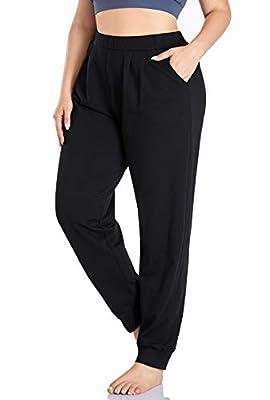 ZERDOCEAN Women's Plus Size Sweatpants Jogger Pants Active Pant Workout Running Pants with Pockets Black 1X