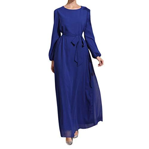 HDUFGJ Damen Beiläufige Lose Langarm Muslimische Kleider für Boho Maxi Kleid Trompete Ärmel Abaya Lange Robe Kleider Tunika Gürtel Einfarbig Lange Ärmel