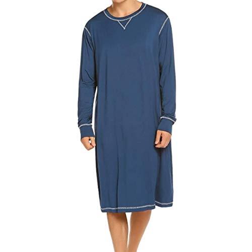 Geagodelia Pigiama Uomo Tinta Unita Camicia da Notte Uomo Girocollo Manica Lunga Stile Casual S-3XL (Blu, M)