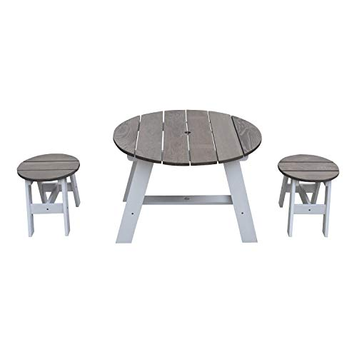 AXI Picknicktisch Set für Kinder aus Holz | Runder Kindertisch für den Garten mit 2 Hockern in Grau & Weiß | Picknick Tisch Rund