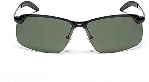 Gepolariseerde zonnebril heren vierkant gepolariseerde zonnebril metalen zonnebril voor heren buitensport golf skiën skiën vissen bril uv-bescherming zwart frame groen