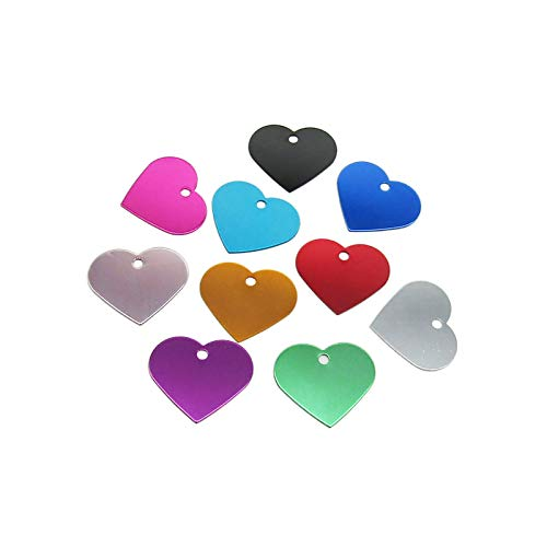 PEPRMROE 10 Pcs Heart Pet ID Tag Blank Aluminum Stamping Blanks Double Sided Pet Name Phone Number ID Tag Charm Personalized for Dog Cat Pet (Heart-1)