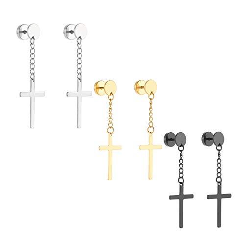 Szory Stainless Steel Dangle Cross Earrings for Men Women Black Silver Gold