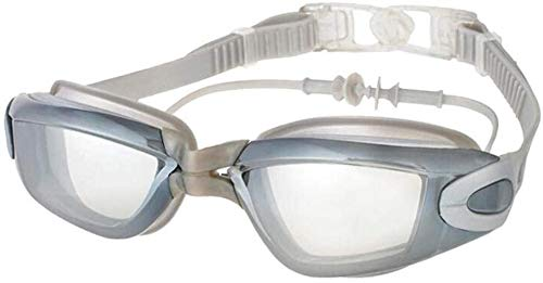 Zwembril met geïntegreerde Oordoppen Anti Fog Waterproof zwembril zwembril Waterproof Zwemmen leilims (Color : Grey)