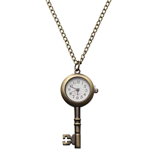 UKCOCO Vintage Bronze Schlüssel Taschenuhr mit Kette Retro Quarz Analog Anhänger Halskette Uhr für Kinder Geschenk
