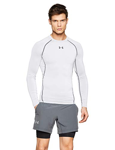 Under Armour UA HeatGear Long Sleeve, Maglia A Maniche Lunghe Uomo, Bianco (White/Graphite (100), L