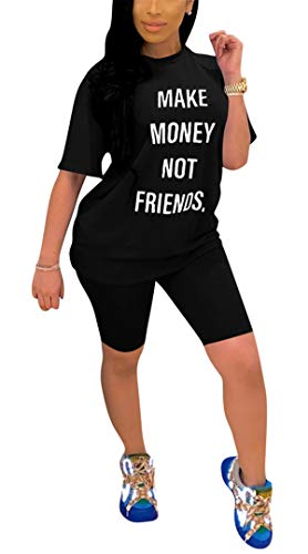 Womens Summer Fashion 2pcs Letters Printed Shorts Sleeve Tie Knot Tees Tops Shirts Hot Pants Set Tracksuits Running Jogging Romper Jumpsuits Sportsuits Jogger Outfit Black XXL