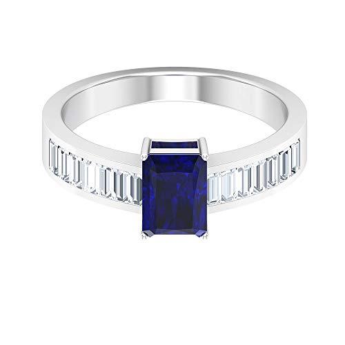Rosec Jewels 14 quilates oro rosa baguette-shape Octagone H-I Blue Diamond Zafiro azul creado en laboratorio.