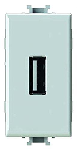 4Box 4B.AM.USB Caricatore USB 2.1 Ampere Compatibile con Bticino Matix, 100 - 230 V, Bianco