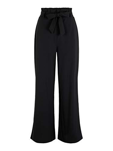 VERO MODA Damen VMMILLA HR Loose Paperbag Pant NOOS Hose, Schwarz (Black Black), W(Herstellergröße: M)