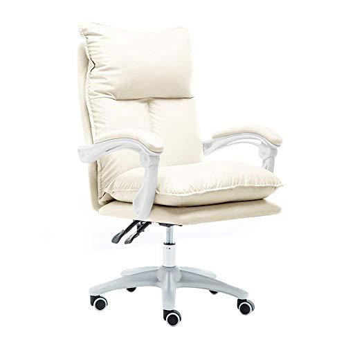 Stuhl Computerstuhl Hohe Rückenlehne PU Leder Gaming Schreibtischstuhl Doppelkissen Großer E-Sport Stuhl Höhe Höhenverstellbarer ergonomischer Bürocomputerstuhl, Weiß