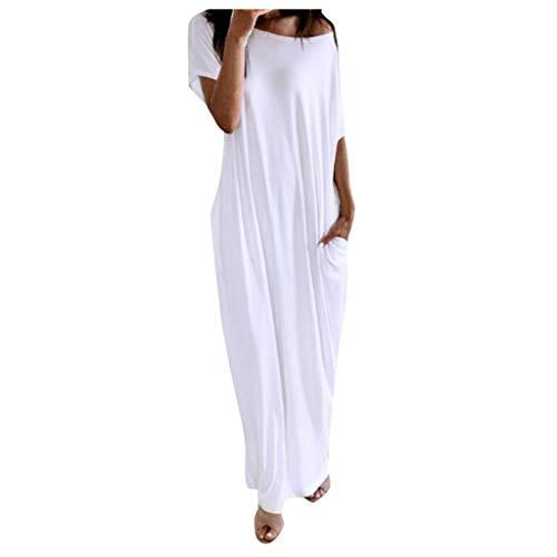 SatinGold Frauenkleider einfarbig Lockeres Rundhals Elegante Weiss A Linien Etuikleid Bluse in Große Größen