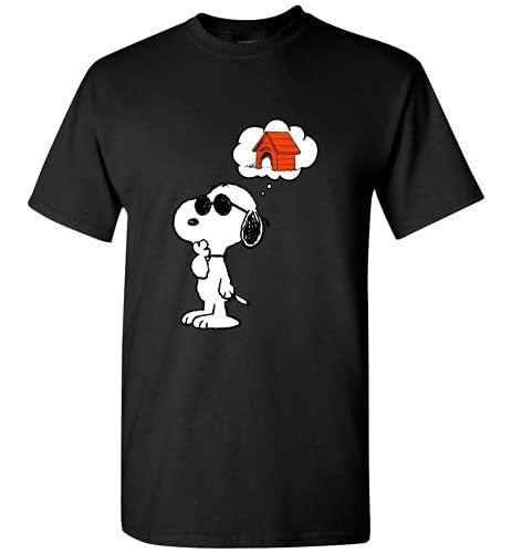 Snoopy Finding House Snoopy Camiseta, camiseta negra, S