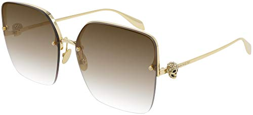 Alexander McQueen Gafas de Sol AM0271S Gold/Brown Shaded 63/16/145 mujer