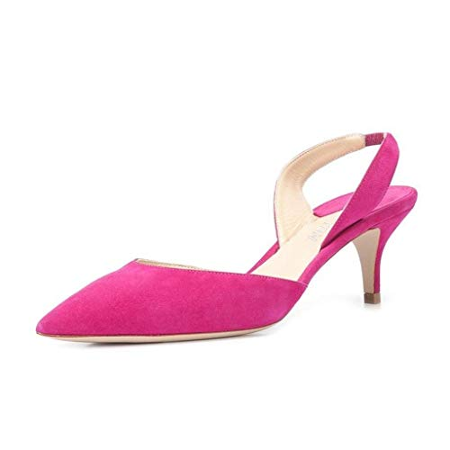 YDN Women Classic Low Kitten Heels Pointed Toe Suede D'Orsay Sandals with Slingback Dress Shoes Fuschia Size 9