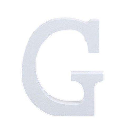 Outflower Ornements de l'alphabet Anglais Moderne Bois Grande Décoratifs Lettres en Bois à Suspendre Stickers Muraux Restaurant Décor Décoration de Mariage à la Maison en Bois Blanc Bois,8cm (G)