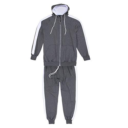 Lavecchia Anthrazit-Grauer Herren Übergrößen Trainingsanzug, Jogginganzug, Freizeitanzug LV-611 (5XL)
