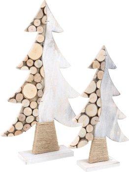 Alberi Decorativi, Set Da 2 Pezzi, Natale, Stile Shabby Chic, In Legno