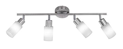 Trio Leuchten LED Strahler Jones 871410407, Metall Nickel matt, Glas weiß gewischt, 4x 4 Watt