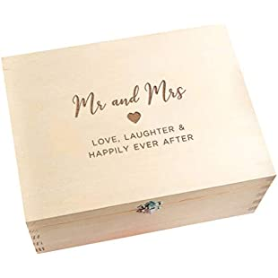 Wedding Keepsake box/Wooden Engraved Memory Box/Wedding Anniversary Gifts for Husband and Wife Couples/Mr and Mrs Wedding Gift for Bride and Groom