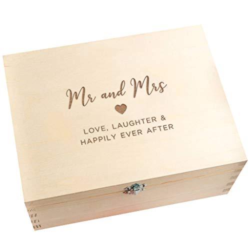 Caja de recuerdos de boda/caja de recuerdos de madera grabada/regalo de aniversario de boda para marido y esposa, parejas/«Mr and Mrs», regalo de boda para novia y novio