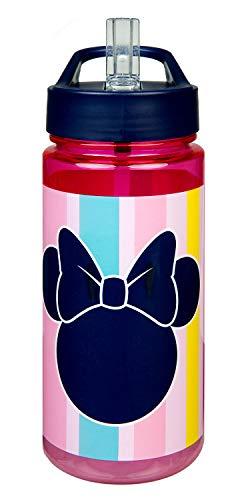 Scooli MINE9913 Aero Trinkflasche aus Kunststoff mit integriertem Strohhalm und Trinkstutzen, Disney Minnie Mouse, BPA und Phthalat frei, ca. 500 ml