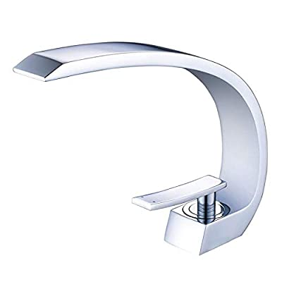 Wovier Chrome Bathroom Sink Faucet with Supply Hose,Unique Design Single Handle Single Hole Lavatory Faucet,Basin Mixer Tap Commercial