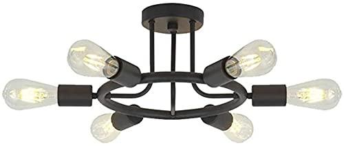 Wlnnes Vintage dormitorio lámpara de techo 6 luces negro retro sala de estar lámpara sala de estar luz de techo e27 zócalo hierro lámpara de dormitorio sala de comedor estudio estudio luz luz max.40W
