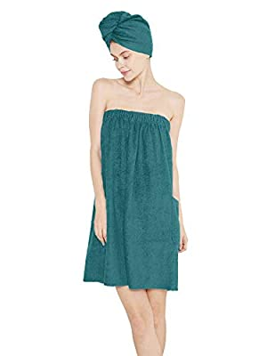 SIORO Women Towel Wrap Bamboo Cotton Bath Towels with Shower Hair Wrap, Adjustable Closure Gym Pool Dress Robe Set