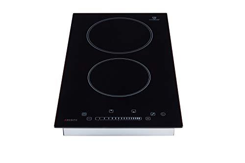Arebos Kochfeld 2 Zonen mit Dual-Kochzone und Bräterzone (Glaskeramik, Sensor-Touch-Display, Autark, 9 Temperaturstufen, integrierter Timer)