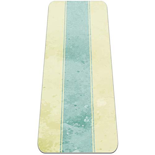 Esterilla de yoga de rayas amarillas y azules gruesa antideslizante para mujeres y niñas Yoga | Pilates | ejercicios de suelo, (72 x 24 pulgadas, 1/4 pulgadas de grosor)
