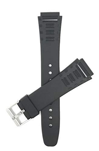 Bandini 20mm Schwarz Gummi Uhrenarmband für Casio, Timex & Mehr, Sports, 2 Federstege inklusive