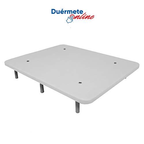 Duérmete Online - Duérmete-Base Tapizada 3D Reforzada 5 Barras de Refuerzo y Válvulas de Ventilación + 6 Patas, Blanco, 150x190