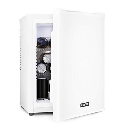 Klarstein Happy Hour - Minibar, Mini-Kühlschrank, Getränkekühlschrank, Kompression, Kühltemperatur: 5-15 °C, lautlos: 0 dB, LED-Licht, 32 Liter weiß