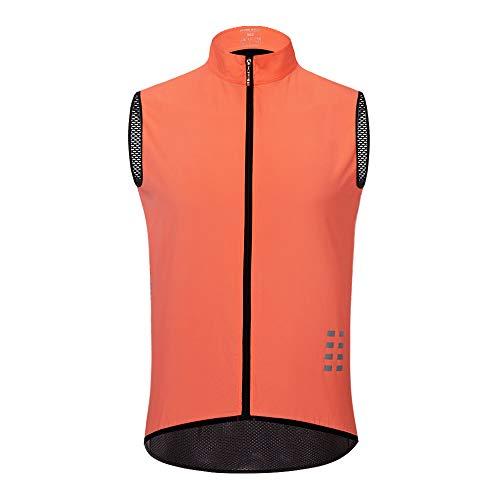 WOSAWE Gilet da Ciclismo da Uomo, Leggera Traspirante Senza Maniche Cappotto Biciclette Gilet Antivento (Rosa XL)