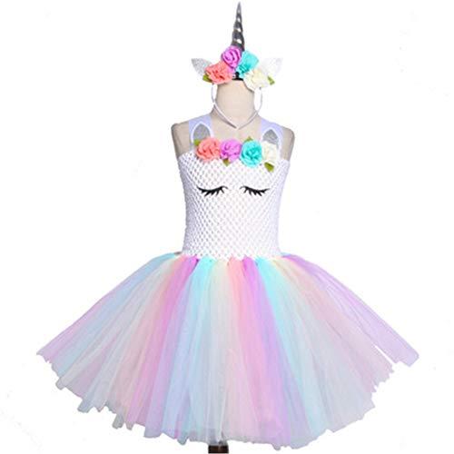 QWER Bloem Meisjes Eenhoorn Tutu Jurk Pastel Regenboog Prinses Meisjes Verjaardag Feestjurk Kinderen Halloween Eenhoorn Kostuum