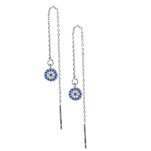 Happyyami Pendientes de Ojo Malvado Pendientes Turcos Antiguos Pendientes de Oreja de Diamante de Imitación Que Protegen El Adorno de La Suerte Joyería de Oreja Delicada para Las Mujeres