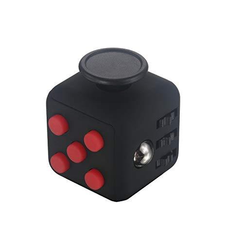 FIDGETARIAN Cubo Anti estrés Negro-Rojo