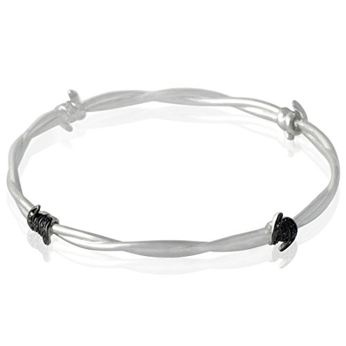 Stephen Webster Forget Me Knot Silver Diamond and Black Sapphire Bangle Bracelet