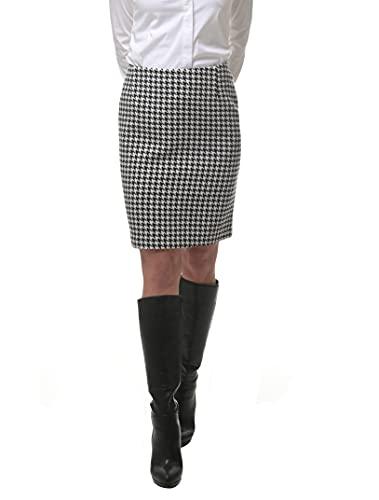 ROCK-IT Apparel Falda de Pata de Gallo para Mujer - Cintura Alta Que favorece la Figura - Cremallera Oculta y Abertura Trasera para Caminar - Tallas 34-42 - Color Negro/Blanco 36