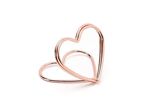P&D 10 STK. Tischkartenhalter Herz Rosegold Hochzeit Tischdeko Kartenhalter Herzen rosa Namenskartenhalter Tischschmuck Rose Gold Altrosa glänzend